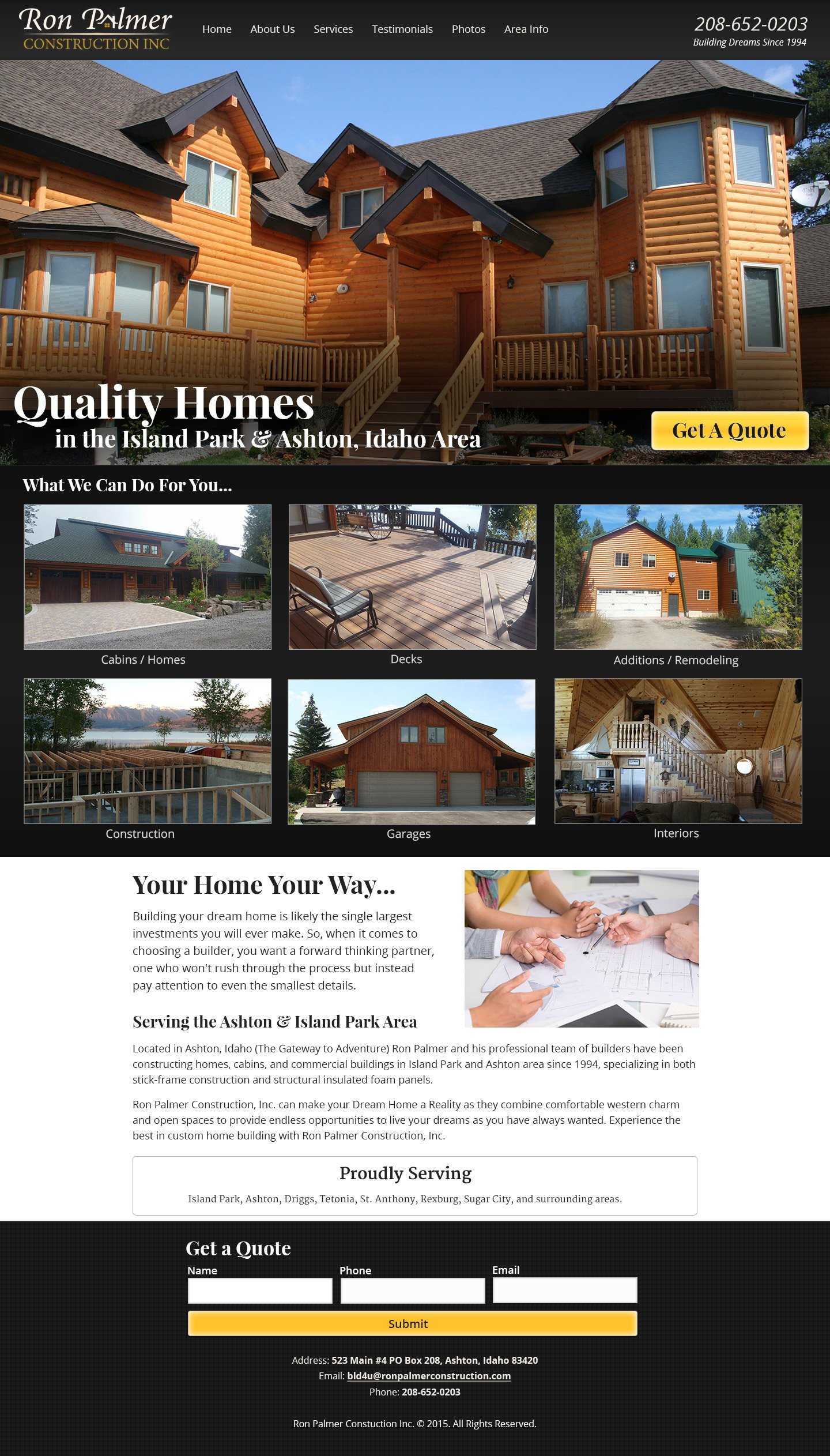 full length homepage screenshot for construction agency.