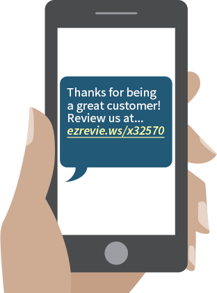 Customer receiving a text message with reviews link. Illustration.