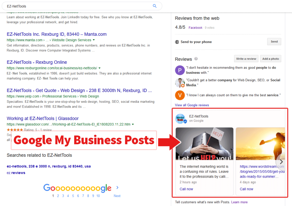 screenshot of Google Result page highlighting Google-My-Business posts