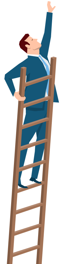 man standing on a ladder, reaching for a star.  Illustration.