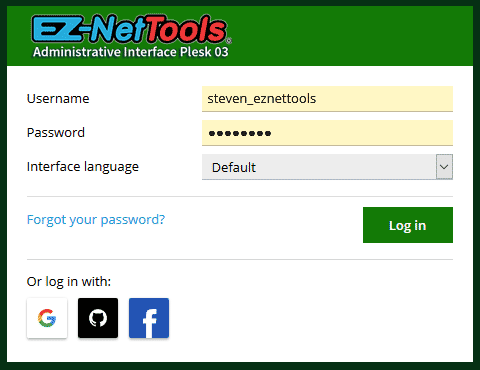 Green Plesk 03 Login screenshot.