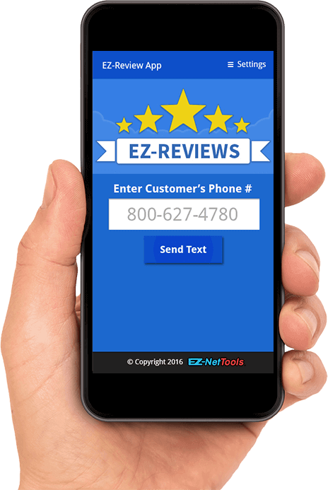 Hand holding phone displaying the EZ-Reviews App.
