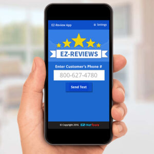 EZ-Reviews app on a phone.