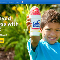 website with large homepage photography featuring a child holding colorful shaved ice.